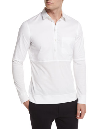 Long-Sleeve Pullover Polo, White