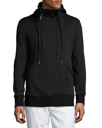 Brushed-Back Two-Zip Fleece Pullover, Black