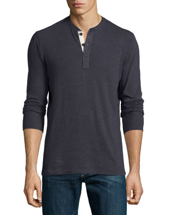 Basic Long-Sleeve Henley Shirt, Navy