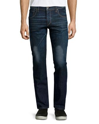 Slim-Fit Dark Wash Denim Jeans, Dark Blue
