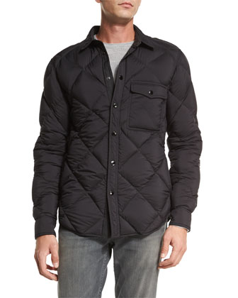 Mallory Quilted Nylon Shirt Jacket, Black