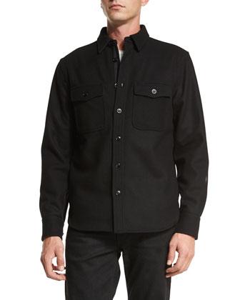 Button-Down Shirt Jacket, Black