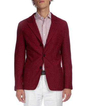 Soft Two-Button Jacket, Striped Button-Down Shirt & Linen-Blend Flat-Front ...