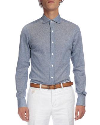 Full-Zip Bomber Jacket, Melange Textured Button-Down Shirt & Stretch Denim ...