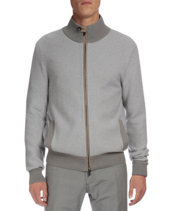 Textured Cashmere Full-Zip Cardigan, Gray