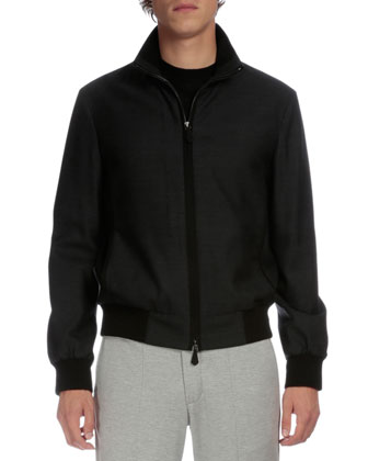 Full-Zip Bomber Jacket, Charcoal
