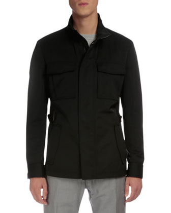 Lightweight Buckled-Side Jacket, Raw-Edge Crewneck Sweater & Five-Pocket ...