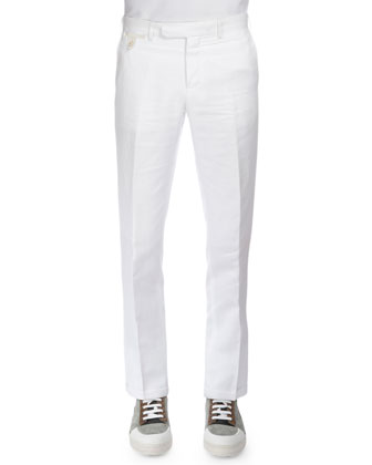 Linen-Blend Flat-Front Trousers, White