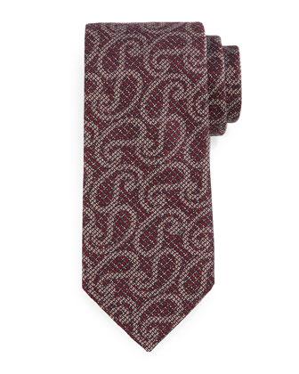 Heathered Paisley-Print Tie