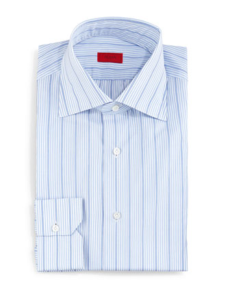 Wide Stripe Dress Shirt, Light Blue