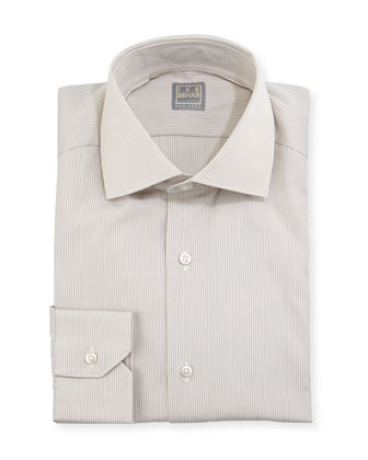 Hairline-Striped Dress Shirt, Tan