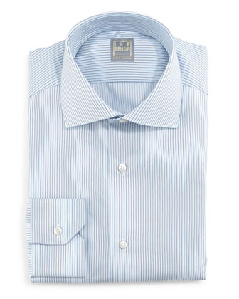 Skinny-Striped Woven Dress Shirt, Blue