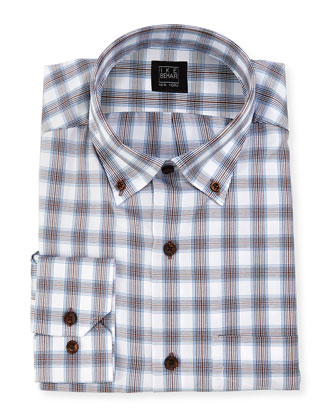 Plaid Dress Shirt, Brown/White