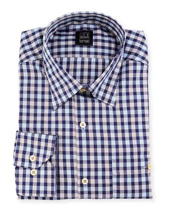 Check Dress Shirt, Brown/Blue