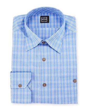 Mini-Plaid Dress Shirt, Blue