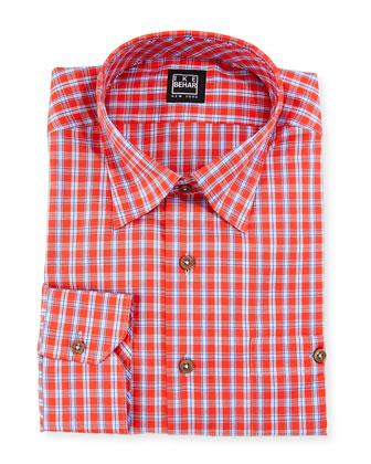 Plaid Dress Shirt, Orange