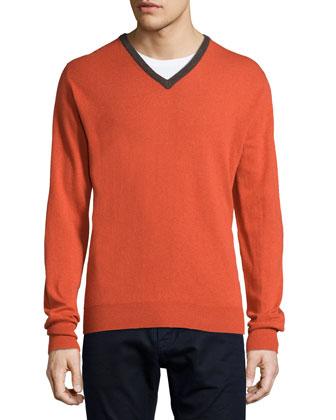 Contrast-Trim Cashmere Sweater, Orange