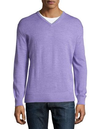 V-Neck Long-Sleeve Sweater, Lilac