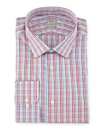 Check Woven Dress Shirt, Blue/Red