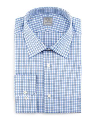 Check Woven Dress Shirt, Blue/White