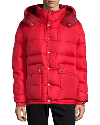 Brel Puffer Jacket with Removable Hood, Red