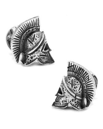 Spartan Helmet Silver Cuff Links
