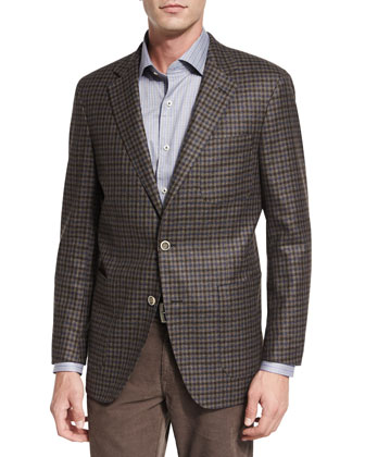 Check Two-Button Soft Sport Coat, Navy