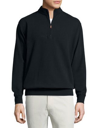 Melange Fleece Quarter-Zip Sweater, Black