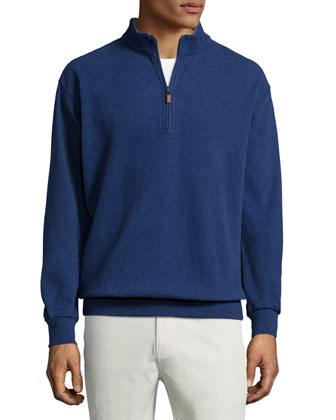 Melange Fleece Quarter-Zip Sweater, Patriot Navy