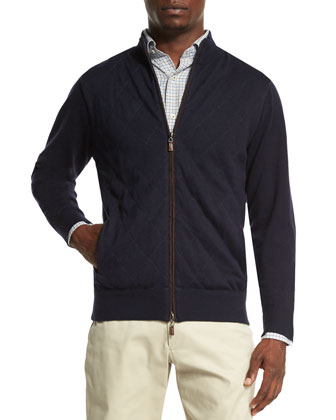 Quilted Full-Zip Jacket, Navy