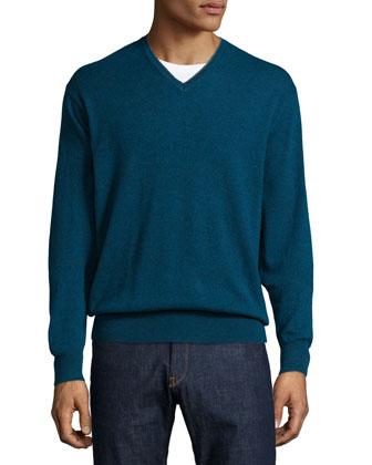 Cashmere-Blend V-Neck Sweater, Green