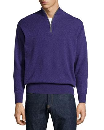 Cashmere Quarter-Zip Pullover Sweater, Purple