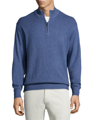 Over-Dyed Quarter-Zip Pullover Sweater, Blue