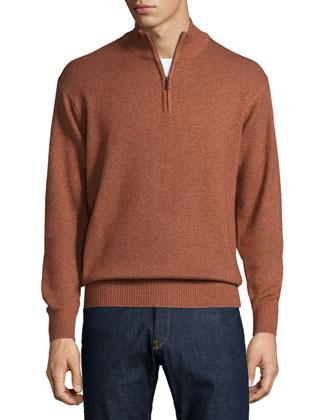 Overdyed Quarter-Zip Pullover Sweater, Rust