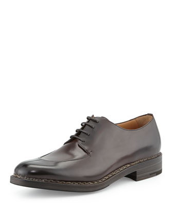 Malta Tramezza Calfskin Split-Toe Oxford with Norwegian Welt, Chocolate