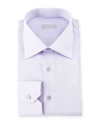 Striped Barrel-Cuff Dress Shirt, Lavender Blue