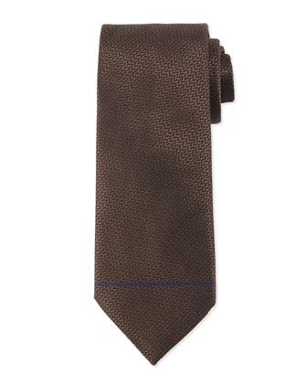 Textured Solid Silk Tie, Brown