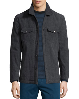 Evan Quilted Button-Front Shirt Jacket, Striped Long-Sleeve Shirt & Leonard ...