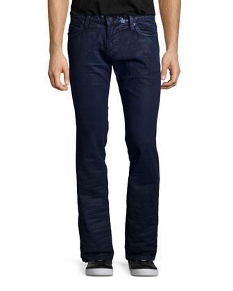 Coated Studded Pocket Denim Jeans, Blue