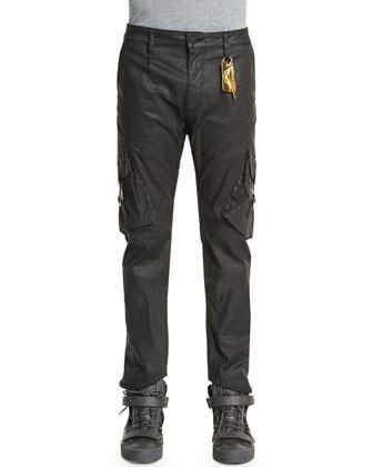 Shiny Stretch Jeans with Cargo Pockets, Black