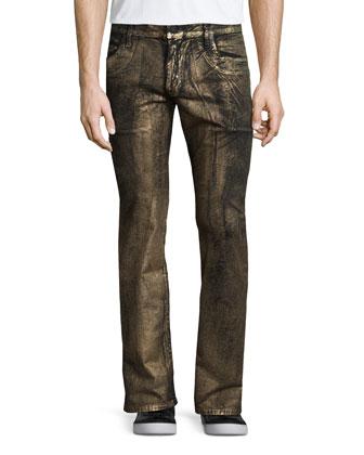 Gold-Coated Studded Pocket Denim Jeans, Gold