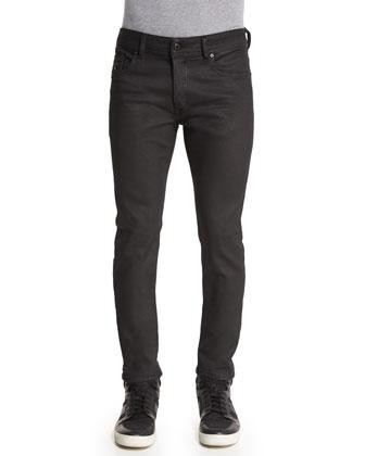 Sleenker Coated Skinny-Leg Jeans, Charcoal