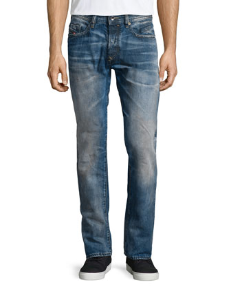 Buster Washed-Out Denim Jeans, Light Blue