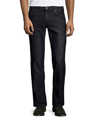 Ricky Straight-Leg Corduroy Pants, Black