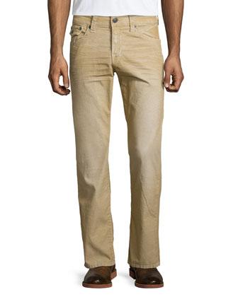 Ricky Straight-Leg Corduroy Pants, Beige