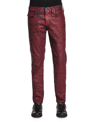 Geno Rebel Crush Coated Jeans, Red