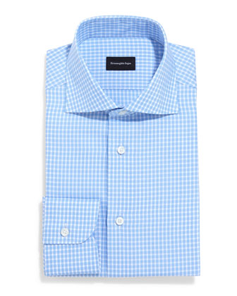 Saturated Check Long-Sleeve Dress Shirt, Light Blue