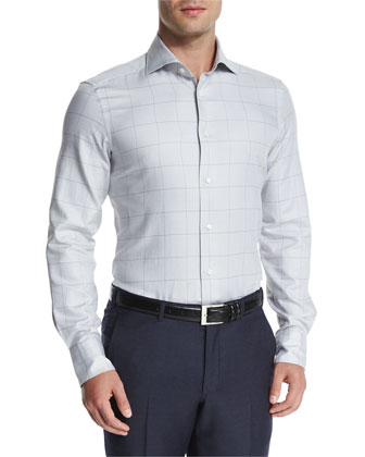 Windowpane Long-Sleeve Dress Shirt, Gray/Brown