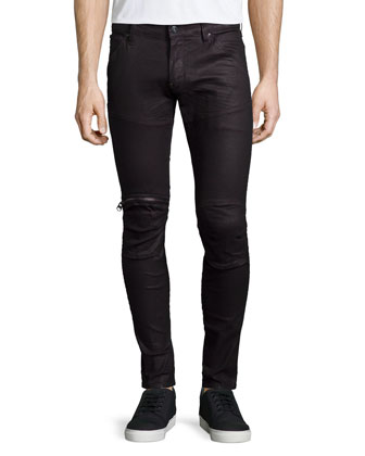 5620 3D Super-Slim Moto Jeans, Black