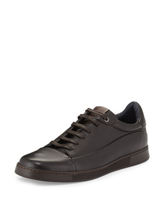 Manhattan Leather Low-Top Sneaker, Brown